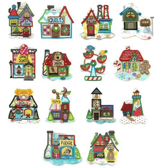 Christmas santa north pole village jumbo applique machine embroidery designs