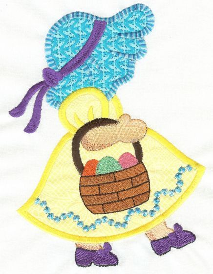 Free Easter Sunbonnet Belle Applique Machine Embroidery Design