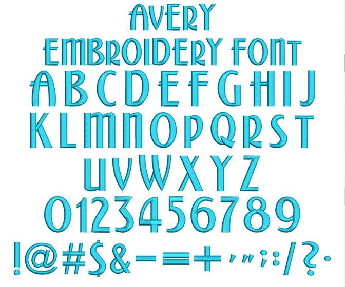Avery Embroidery Font Machine Embroidery Designs by JuJu