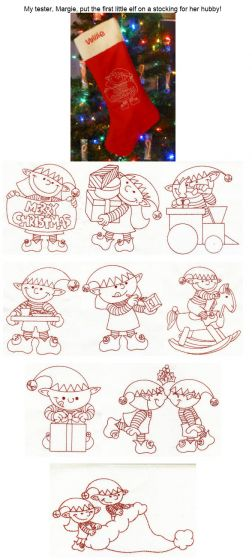 Christmas Elves Embroidery Redwork for Machine Embroidery