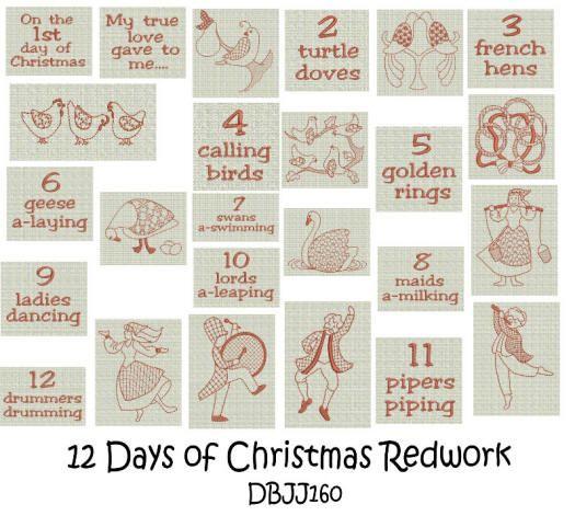 12 Days of Christmas Redwork