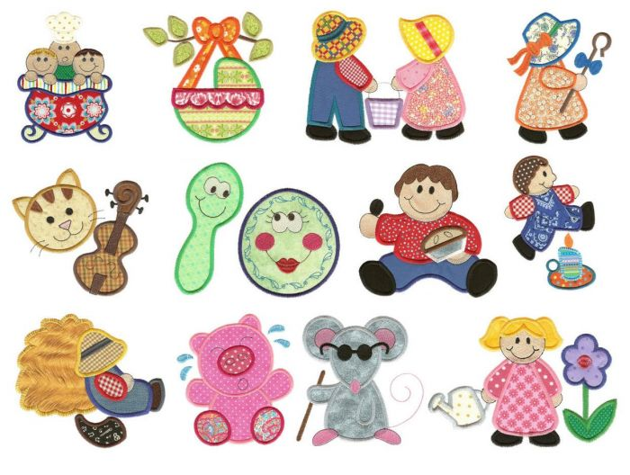 Nursery rhymes applique machine embroidery designs set 2