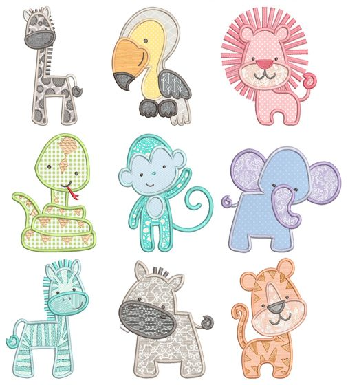 Simply Jungle Critters Applique Machine Embroidery Designs By JuJu