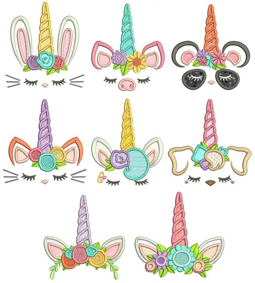 Unicorn Animal Faces Applique Machine Embroidery Designs By JuJu