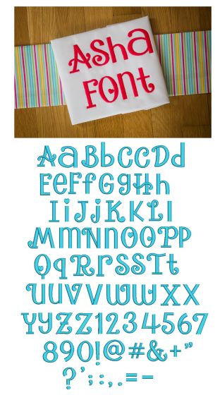 Asha Embroidery Font Designs by JuJu Machine Embroidery Designs