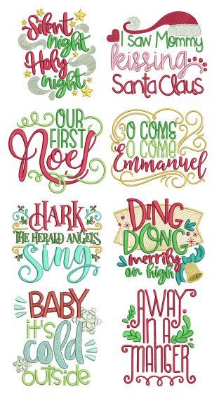 Christmas Carols Word Art Set 2 Machine Embroidery Designs by JuJu