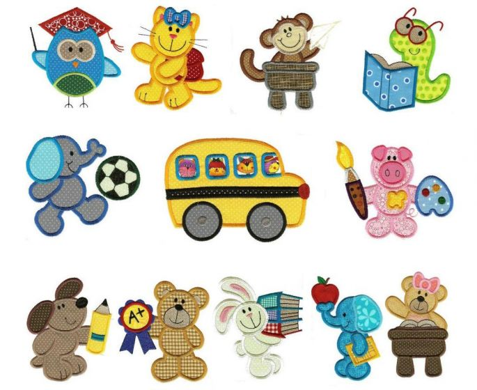 School critters applique machine embroidery designs