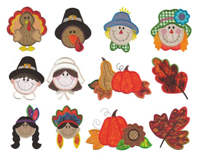 Harvest autumn thanksgiving applique machine embroidery designs