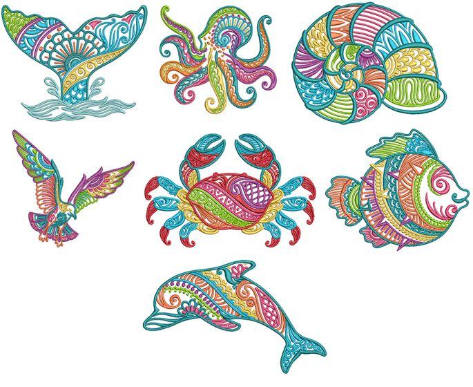 Mehndi Sea Life Set 3 Machine Embroidery Designs by JuJu