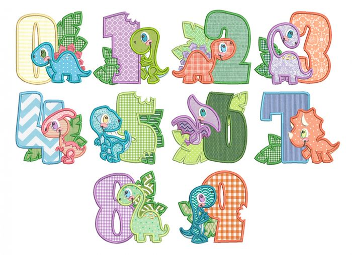 Dino Numbers Applique Machine Embroidery Designs By JuJu