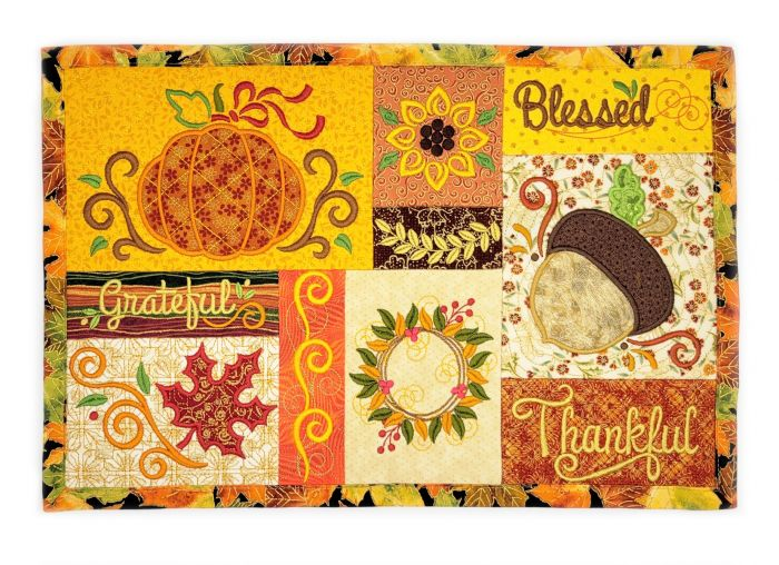 In The Hoop Fall Placemat 2 Digital Machine Embroidery Designs by JuJu Exclusive