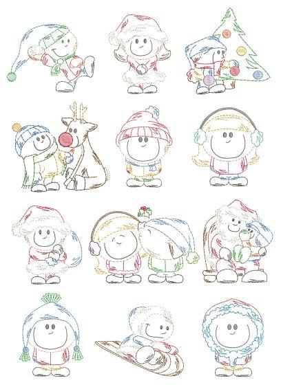 Christmas Cuties Kids Vintage Stitch Machine Embroidery Designs by JuJu