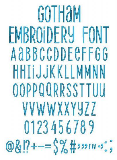 Gotham Embroidery Font