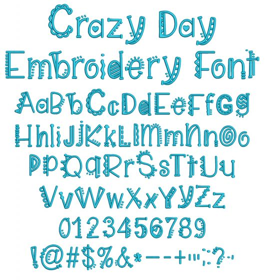Crazy Day Embroidery Font