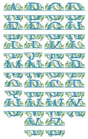 Scrolling Split Monogram Machine Embroidery Designs By JuJu