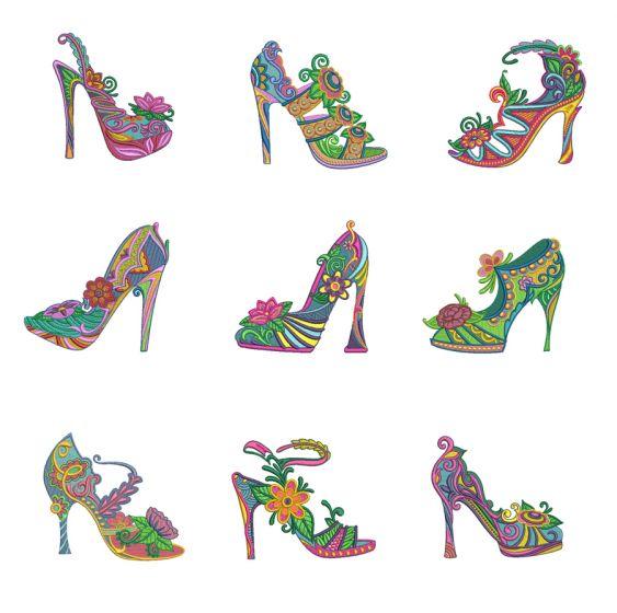Fancy Footwear Filled Machine Embroidery Designs By JuJu