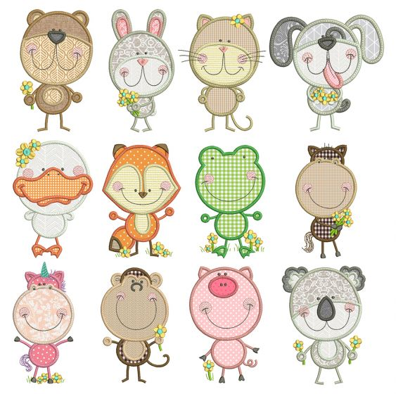 Scribble Critters Applique Machine Embroidery Designs by JuJu