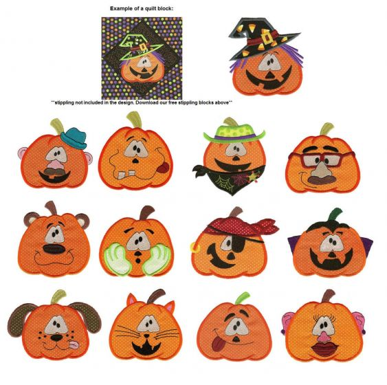 Pumpkin faces and heads applique machine embroidery designs