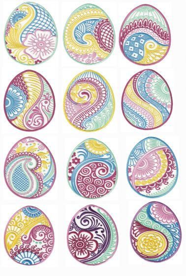 Mehndi Henna Easter Eggs Machine Embroidery Designs by JuJu