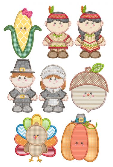 Sweet Thanksgiving Applique Machine Embroidery Designs By JuJu