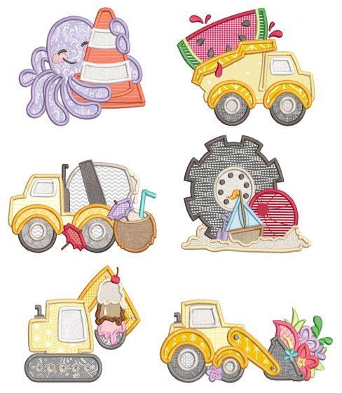 Summer Construction Machine Embroidery Designs By JuJu