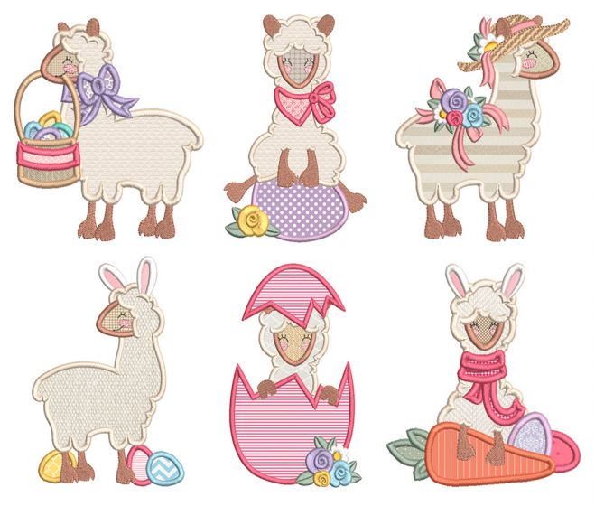 Easter Llamas Machine Embroidery Designs By JuJu