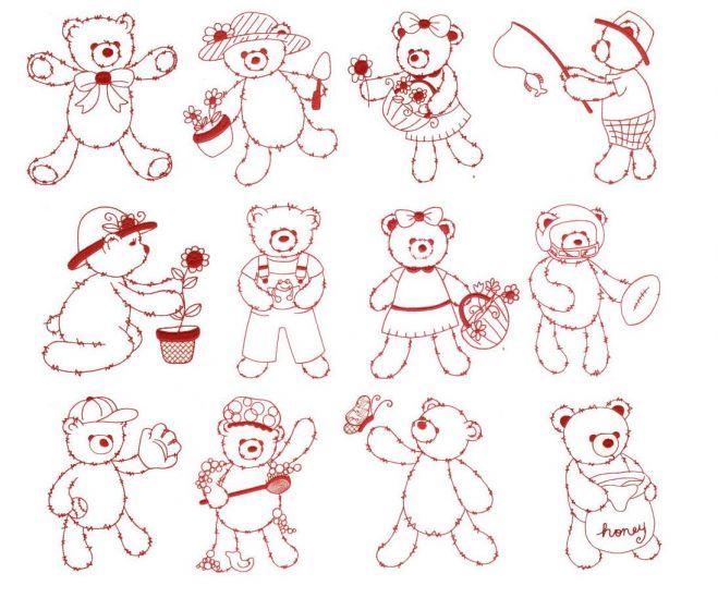 Fuzzy teddy bears redwork machine embroidery designs