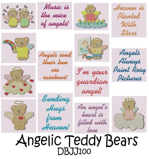 Teddy bear angels filled machine embroidery designs