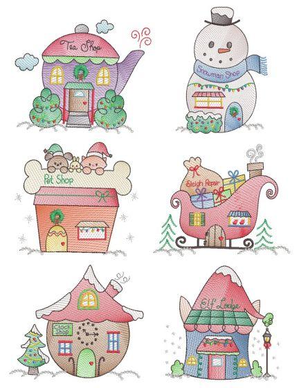 Christmas Village Vintage Sketch 3