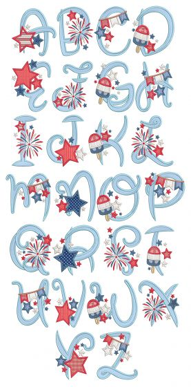 Patriotic Applique Alphabet Machine Embroidery Designs By JuJu