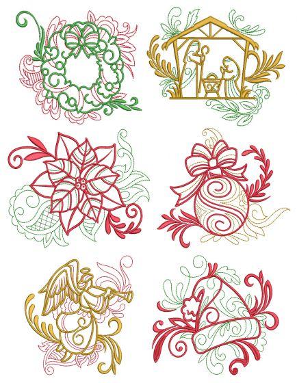 Elegant Christmas Motifs 2 Machine Embroidery Designs by JuJu