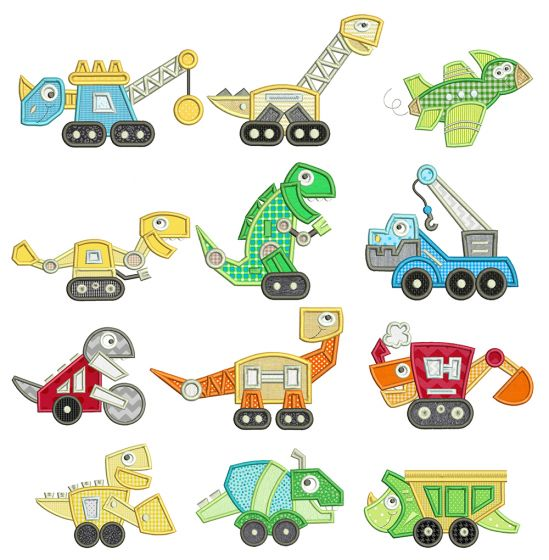 Constructasaurus Applique Machine Embroidery Designs By JuJu