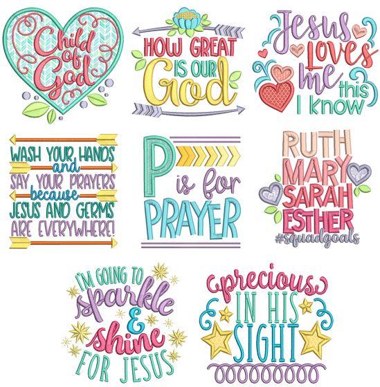 Kids Bible Sayings 1 Machine Embroidery Designs By JuJu