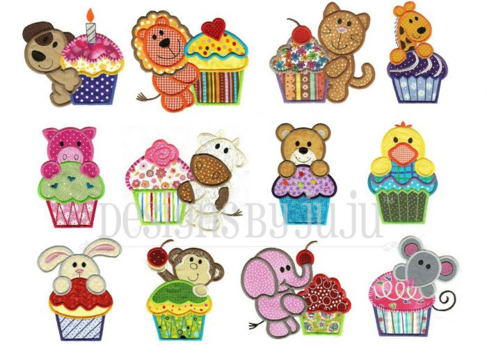 Cupcake animals and critters applique machine embroidery designs.