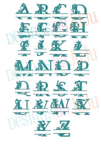 Split Flourish Monogram Alphabet Machine Embroidery Designs by JuJu