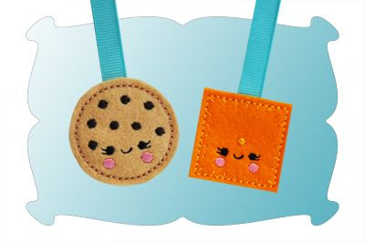 Chocolate Chip Cookie and Cheese Nip Cracker Zipper Pulls In The Hoop