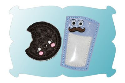 Oreo and Mr Milk Mustache Zipper Pulls In The Hoop