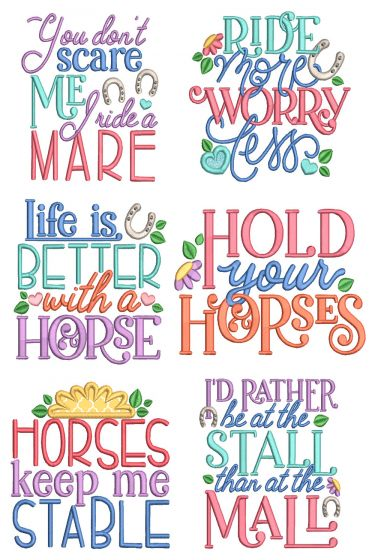 Horse Word Art Machine Embroidery Designs by JuJu