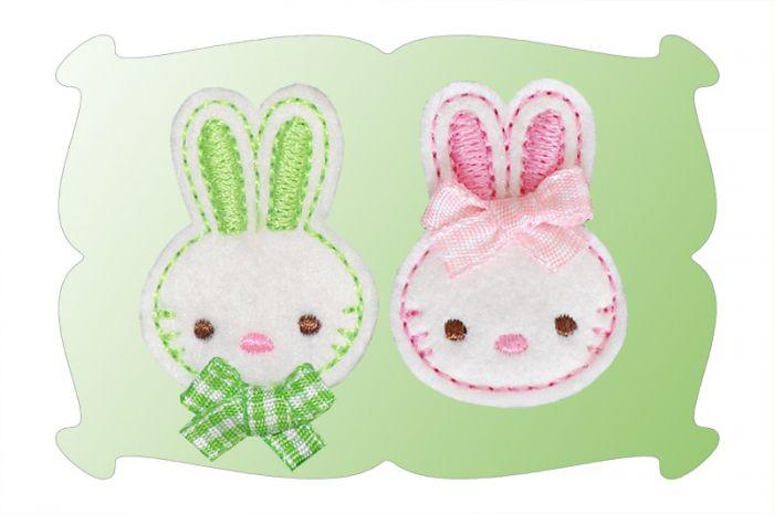 Bunny 2 Felt Snap Clip Mini