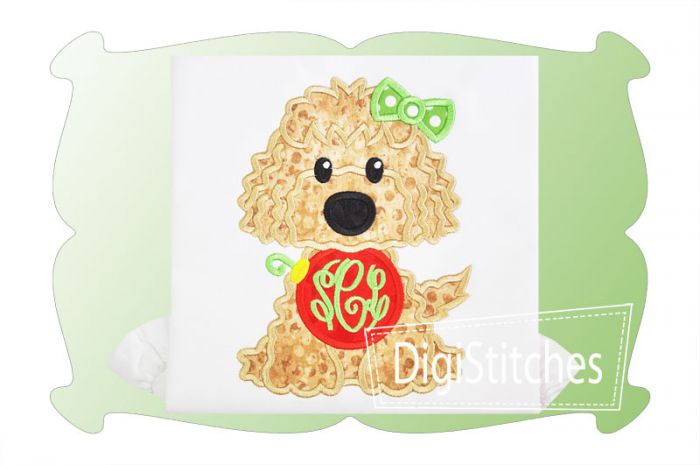 Dog With Christmas Ornament Girl Applique