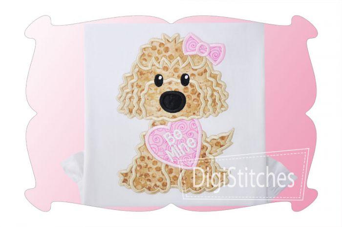 Dog With Valentine Girl Applique