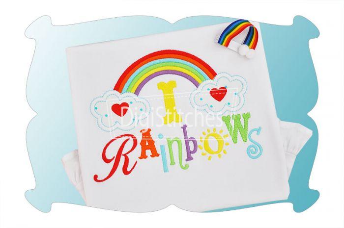 I Love Rainbows Applique