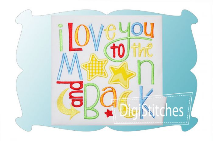 I Love You To The Moon And Back Boy Applique