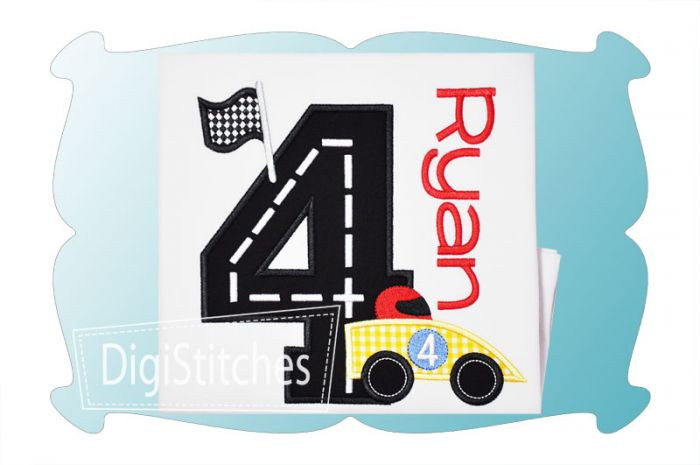 Race Track Birthday Numbers Applique