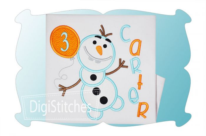Silly Snowman Birthday Applique