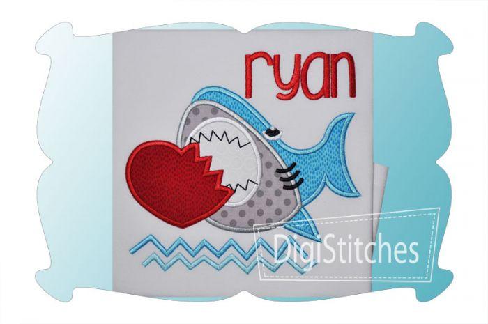 Valentine Shark Applique