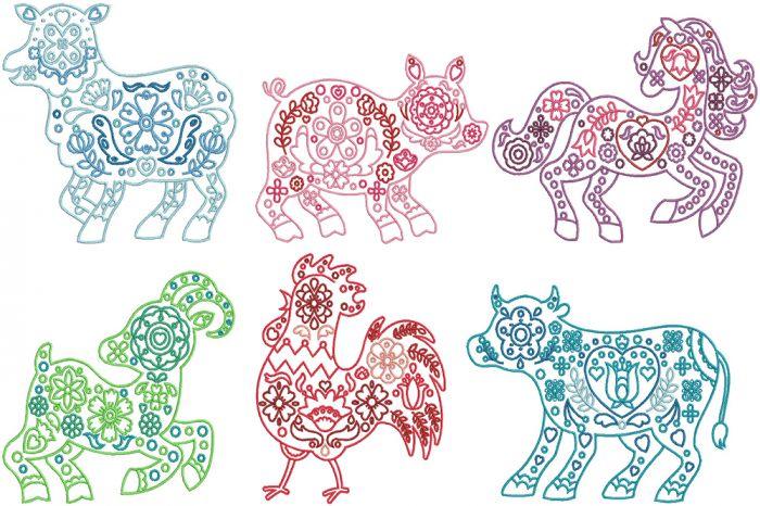 Scandinavian Farm Animals Digital Machine Embroidery Designs by JuJu