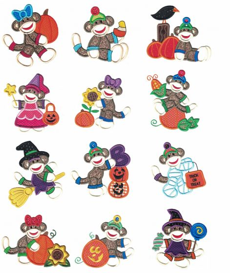 Halloween Harvest Sock Monkeys Applique Machine Embroidery Designs by JuJu