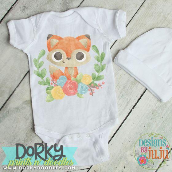 Baby Fox With Laurel Digital Watercolor PNG Printable File Designs by JuJu