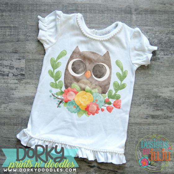 Baby Owl With Laurel Digital Watercolor PNG Printable File Designs by JuJu